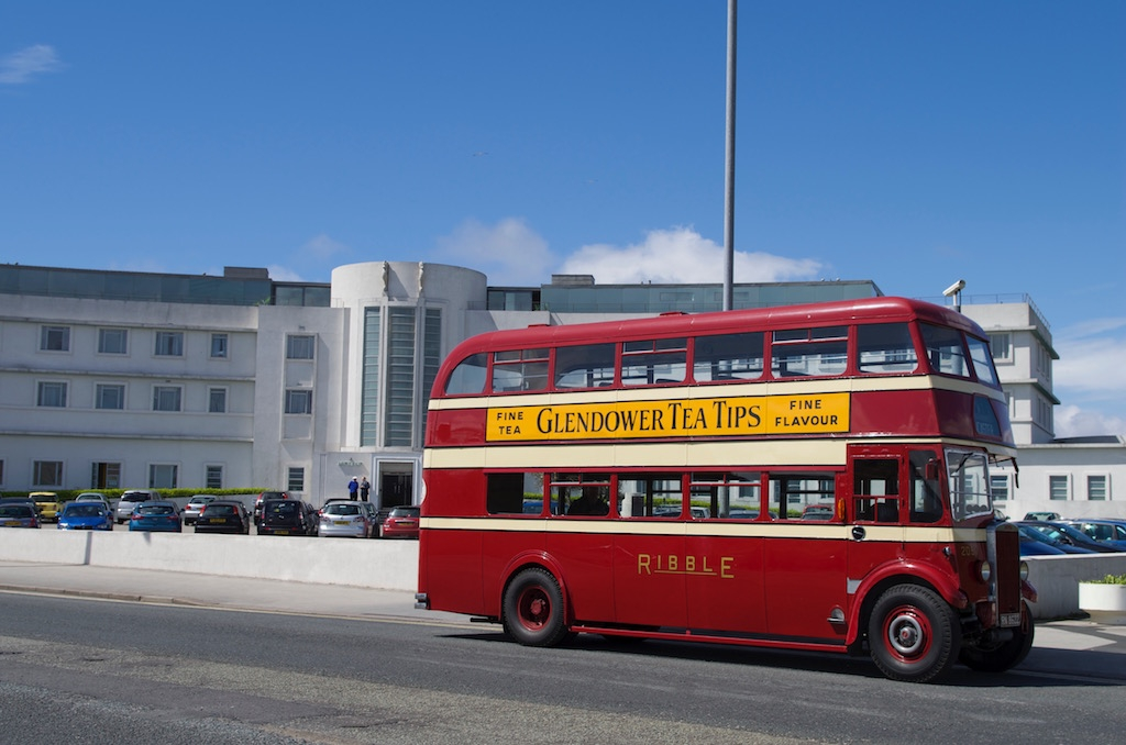 Two 1930s classics together. TD5 2057 stands outside the Midland Hotel