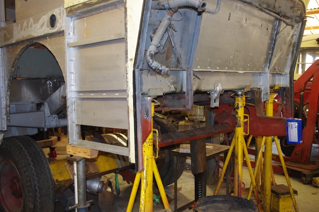 Chassis extensions removed to allow access to main chassis bearer