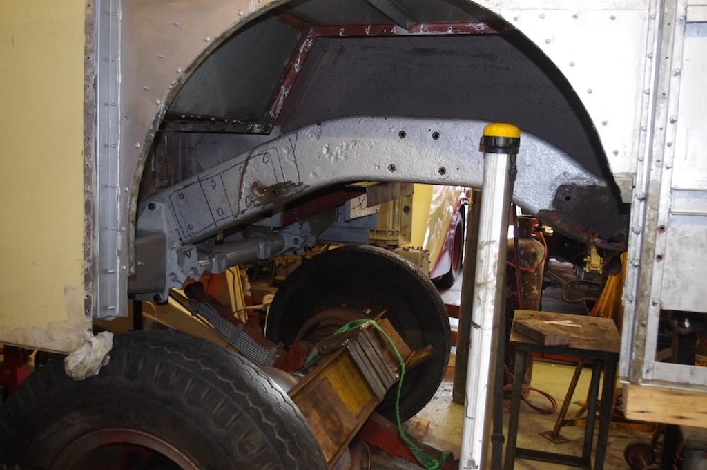 Chassis bearer exposed to allow replacement section to be fitted